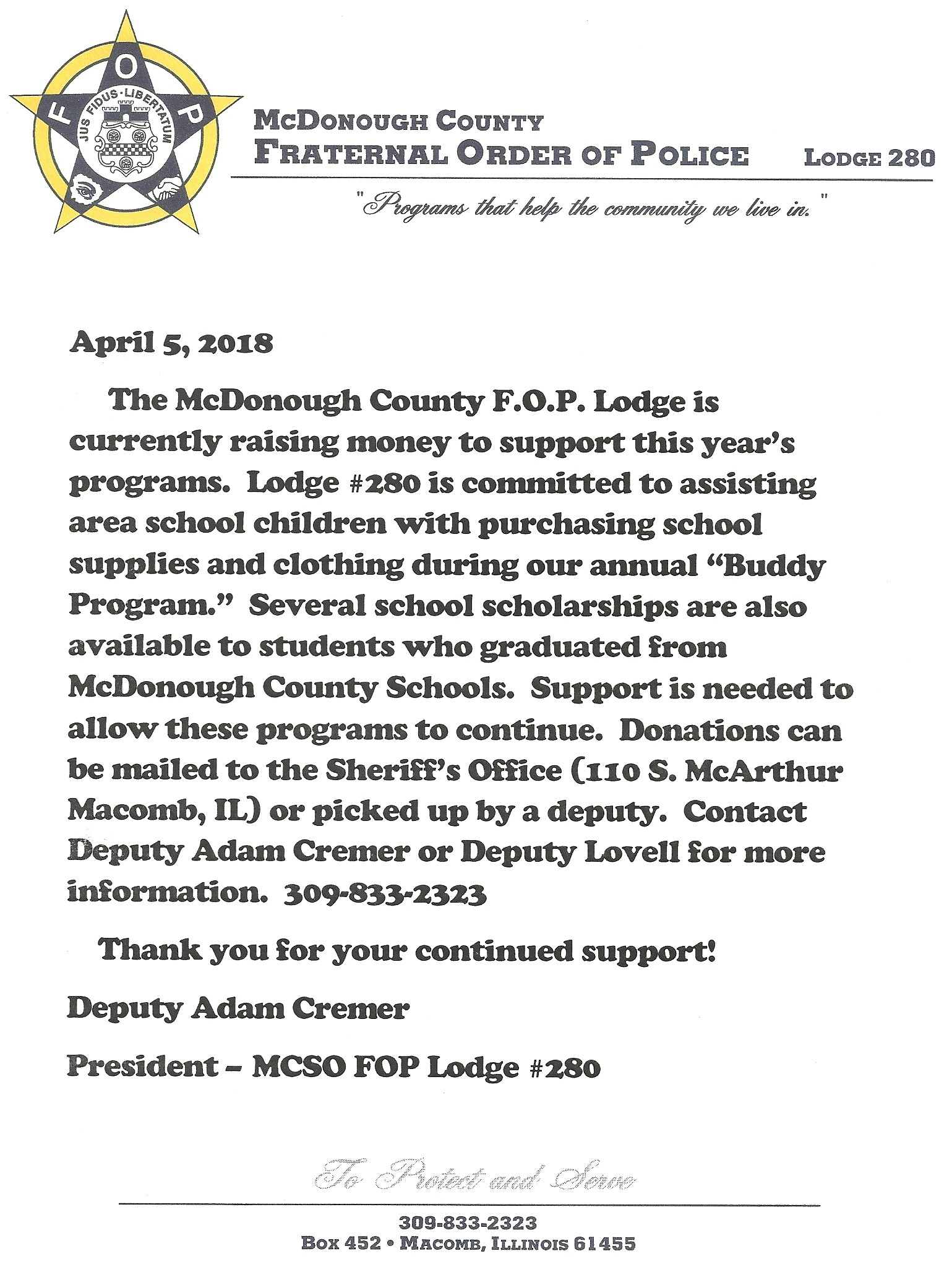 Help support your local FOP Lodge